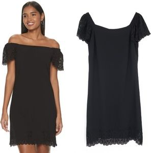Elle Scalloped Off- Shoulder Dress Black Small